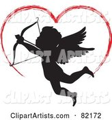 Red Painted Heart Above a Black Cupid Silhouette