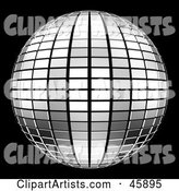 Reflective Tiled Silver Mirror Disco Ball on Black