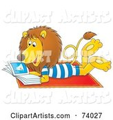 Relaxed Lion Reading a Book on the Beach