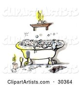 Relaxing Claw Foot Tub with Frothy Bubble Bath, Illuminated in Candlelight with a Book and Glass of Wine