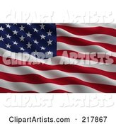 Rippling Flag of the USA Waving in the Wind