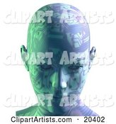 Robot's Head with Circuit Board Patterns, Facing Front, Symbolizing Advances in Technology and Intelligence