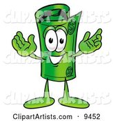 Rolled Money Mascot Cartoon Character with Welcoming Open Arms