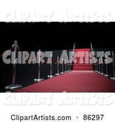 Rope and Pole Lined Red Carpet and Stairs over Black