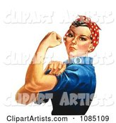 Rosie the Riveter Isolated on White