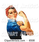 Rosie the Riveter Isolated on White, Facing Right