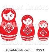 Row of Three White and Red Nesting Dolls
