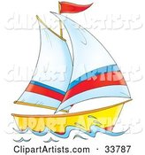 Sailing Boat with White, Red and Blue Sails and a Red Flag