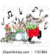 Santa an Elf and Reindeer in a Rock and Roll Christmas Band