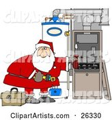 Santa Bending over and Repairing Wires in an Hvac System for Christmas