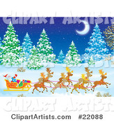 Santa's Reindeer Pulling St Nicholas and Presents in a Sleigh Through a Forest of Snow Flocked Evergreen Trees Under a Crescent Moon on a Snowy Winter Night