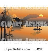Scenic Asian View of an Orange Sunset over Bamboo, Trees and a Hut on Still Waters with Hills in the Background