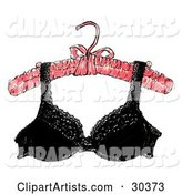 Sexy, Black, Lacy Brassiere Hanging from a Padded Pink Hanger