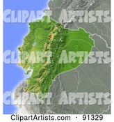 Shaded Relief Map of Ecuador