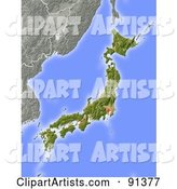 Shaded Relief Map of Japan