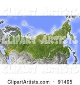Shaded Relief Map of Russia