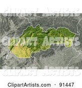 Shaded Relief Map of Slovakia