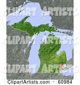 Shaded Relief Map of the State of Michigan