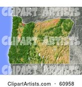 Shaded Relief Map of the State of Oregon
