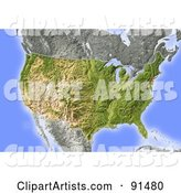 Shaded Relief Map of the USA