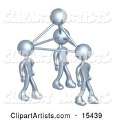 Silver Business People Connected by Atoms, Symbolizing Teamwork, Brainstorming, Creativity and Ideas