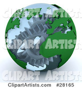 Silver Cogs and Gears Working Inside a Transparent Earth Globe