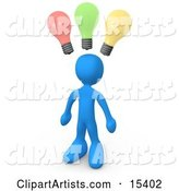 Smart and Creative Blue Man with Different Colored Lightbulbs Symbolizing Ideas Above His Head