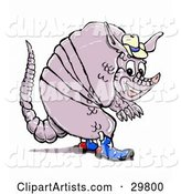Smiling Armadillo in American Cowboy Boots and a Hat