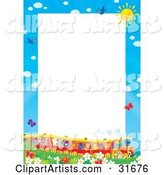 Stationery Border or Frame of a Train Full of Animals in a Field of Flowers and Butterflies