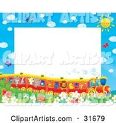 Stationery Border or Frame of Birds, Butterflies, Bugs, and Flowers Watching a Train of Animals on a Sunny Day