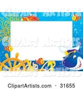 Stationery Border or Frame with a Captain Shark, Marine Fish, Anchor, Helm and Crab