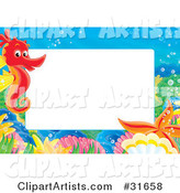 Stationery Border or Frame with a Red Seahorse, Shells and Starfish