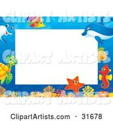 Stationery Border or Frame with Colorful Marine Fish, a Turtle, Starfish, Seahorse and Dolphins