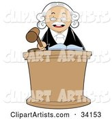 Stern Male Judge in a White Wig, Standing Behind a Podium and Banging His Gavel During Court