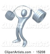 Strong Silver Man Holding Heavy and Bending Barbell Weights Above His Head in a Fitness Gym