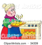 Sweet Blond Granny Taking Hot Rolls out of an Oven