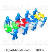 "Team of 8 Blue People Holding up Connected Pieces to a Colorful Puzzle That Spells out ""Team,"" Symbolizing Excellent Teamwork, Success and Link Exchanging"