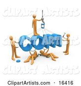 Team of Orange People Constructing the Word Com, Symbolizing a Website Under Construction