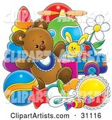Teddy Bear with Baby Toys in a Nursery