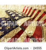 Textured American Flag Rippling, with the Stars and Stripes