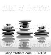 Three Balanced Stacks of Flat Stones with Reflections
