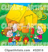 Three Children Warming up by a Campfire near Their Tent