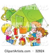 Three Kids Eating Around a Campfire Outside Their Green Tent, on a White Background