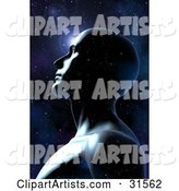 Transparent Man Becoming One with the Universe Against a Starry Night Sky, Symbolizing Meditation, Self and Knowledge