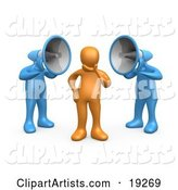 Two Blue Megaphone Headed People Shouting at an Orange Person, Trying to Influence His Beliefs