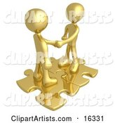 Two Gold People Shaking Hands While Standing on Connected Gold Puzzle Pieces, Symbolizing Teamwork, Deals, and Link Exchanges for Seo Website Marketing