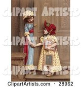Two Little Sisters at a Doorway, Smiling and Holding Hands, Circa 1880