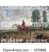 Two Men on Horseback, Fox Hunting with Dogs