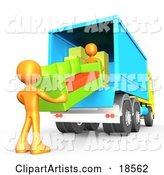 Two Orange Male Figures Lifting and Loading a Green and Orange Living Room Couch into a Blue Moving Truck, Symbolizing Teamwork