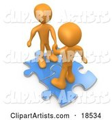 Two Orange People on Blue Puzzle Pieces, Engaging in a Handshake upon a Deal, Symbolizing Link Exchange and Teamwork